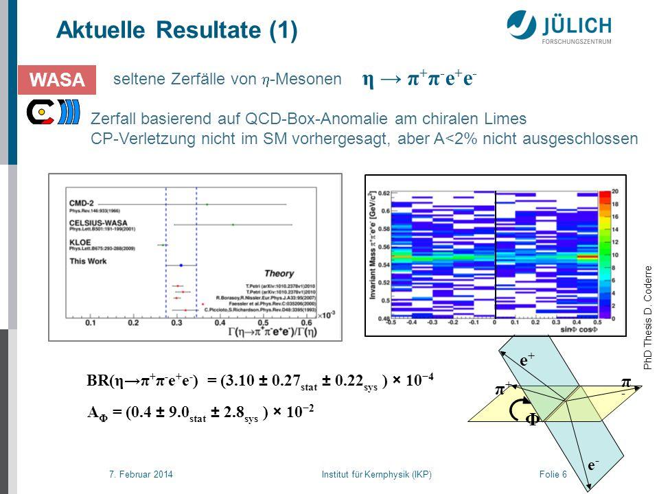 7. Februar 2014 Institut für Kernphysik (IKP) Folie 6 Aktuelle Resultate (1) seltene Zerfälle von -Mesonen Zerfall basierend auf QCD-Box-Anomalie am c