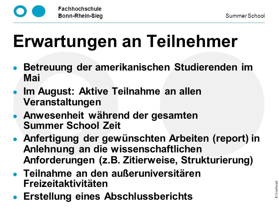 Fachhochschule Bonn-Rhein-Sieg Summer School 8 Overhead Kosten Ca.