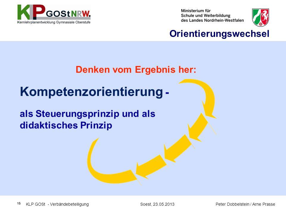 15 als Steuerungsprinzip und als didaktisches Prinzip Kompetenzorientierung - KLP GOSt - Verbändebeteiligung Soest, 23.05.2013 Peter Dobbelstein / Arn