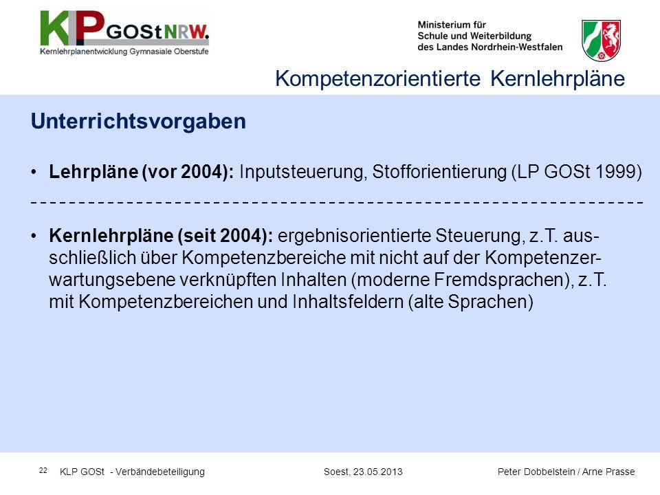 22 Unterrichtsvorgaben Lehrpläne (vor 2004): Inputsteuerung, Stofforientierung (LP GOSt 1999) Kernlehrpläne (seit 2004): ergebnisorientierte Steuerung