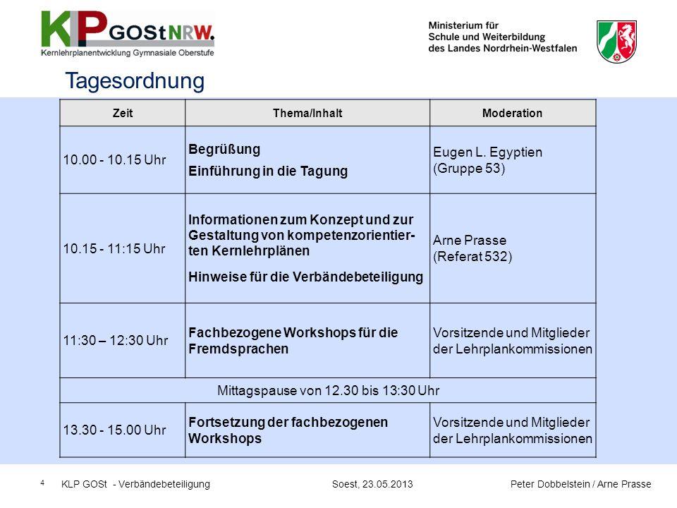 25 Schulinterne Lehrpläne KLP GOSt - Verbändebeteiligung Soest, 23.05.2013 Peter Dobbelstein / Arne Prasse