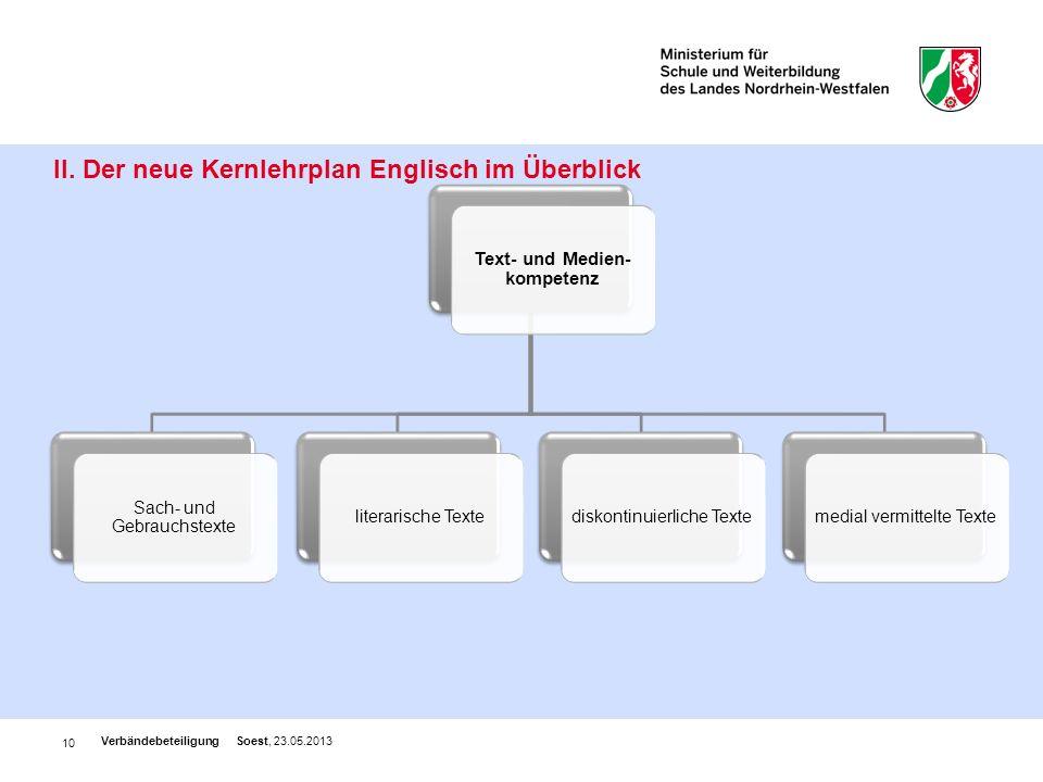 10 II. Der neue Kernlehrplan Englisch im Überblick Verbändebeteiligung Soest, 23.05.2013 Text- und Medien- kompetenz Sach- und Gebrauchstexte literari