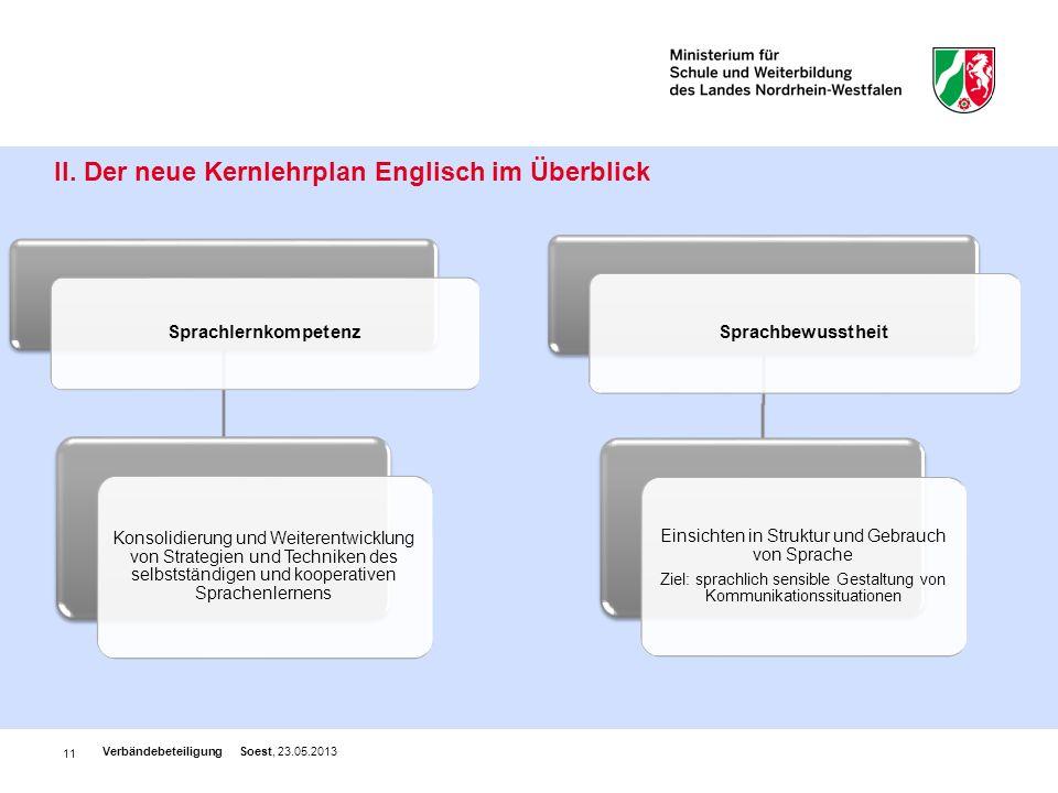 11 II. Der neue Kernlehrplan Englisch im Überblick Verbändebeteiligung Soest, 23.05.2013 Sprachlernkompetenz Konsolidierung und Weiterentwicklung von