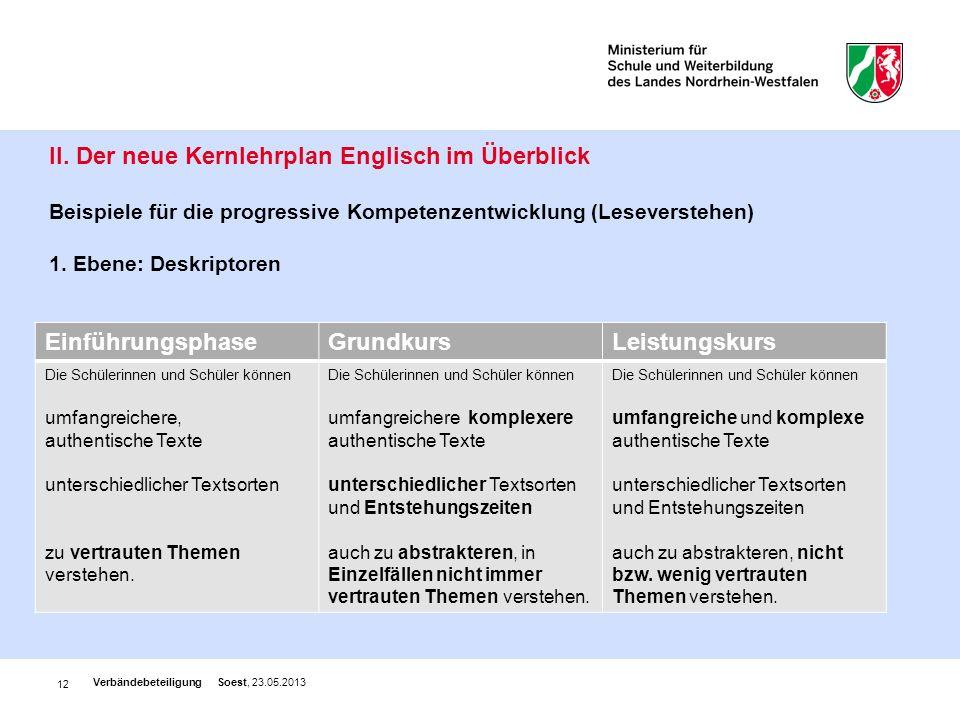 12 II. Der neue Kernlehrplan Englisch im Überblick Beispiele für die progressive Kompetenzentwicklung (Leseverstehen) 1. Ebene: Deskriptoren Verbändeb