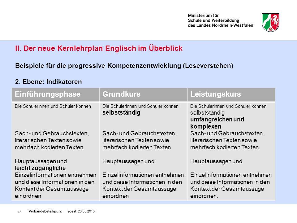 13 II. Der neue Kernlehrplan Englisch im Überblick Beispiele für die progressive Kompetenzentwicklung (Leseverstehen) 2. Ebene: Indikatoren Verbändebe