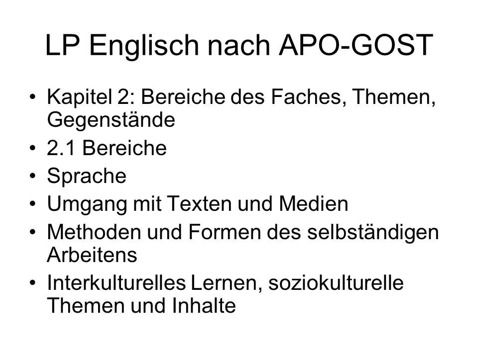 LP Englisch nach APO-GOST Kapitel 2: Bereiche des Faches, Themen, Gegenstände 2.1 Bereiche Sprache Umgang mit Texten und Medien Methoden und Formen de