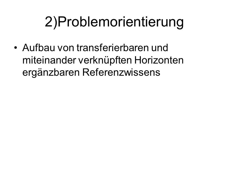 2)Problemorientierung Aufbau von transferierbaren und miteinander verknüpften Horizonten ergänzbaren Referenzwissens