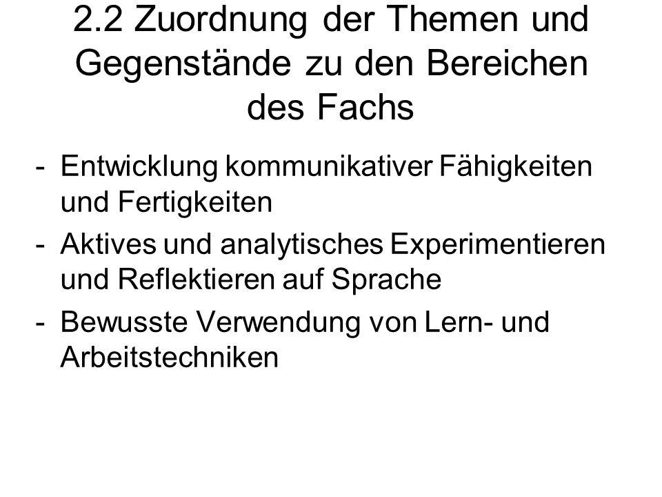 2.2 Zuordnung der Themen und Gegenstände zu den Bereichen des Fachs -Entwicklung kommunikativer Fähigkeiten und Fertigkeiten -Aktives und analytisches