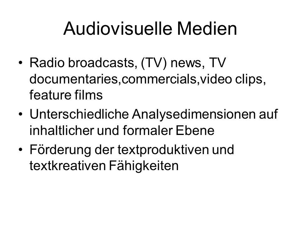 Audiovisuelle Medien Radio broadcasts, (TV) news, TV documentaries,commercials,video clips, feature films Unterschiedliche Analysedimensionen auf inha