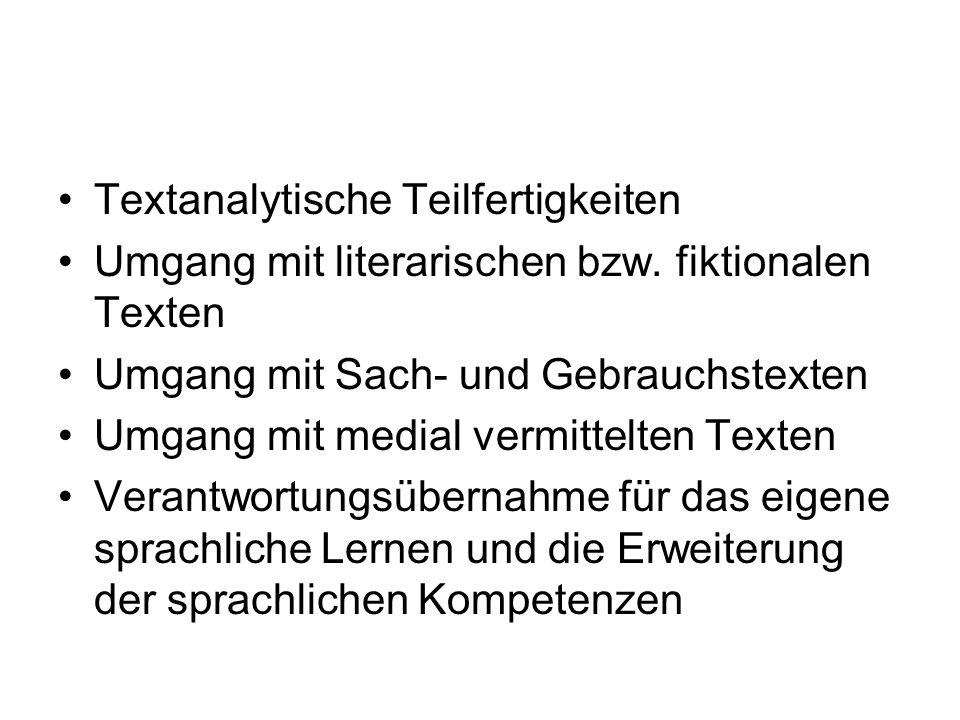 Textanalytische Teilfertigkeiten Umgang mit literarischen bzw. fiktionalen Texten Umgang mit Sach- und Gebrauchstexten Umgang mit medial vermittelten