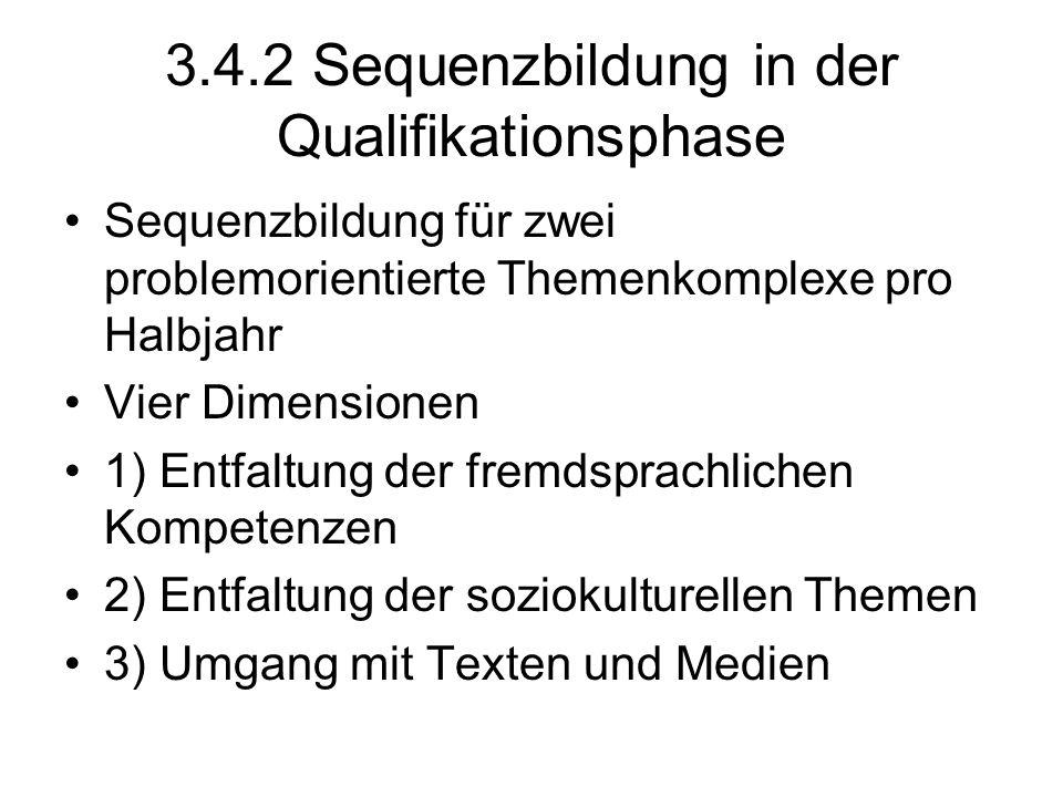 3.4.2 Sequenzbildung in der Qualifikationsphase Sequenzbildung für zwei problemorientierte Themenkomplexe pro Halbjahr Vier Dimensionen 1) Entfaltung