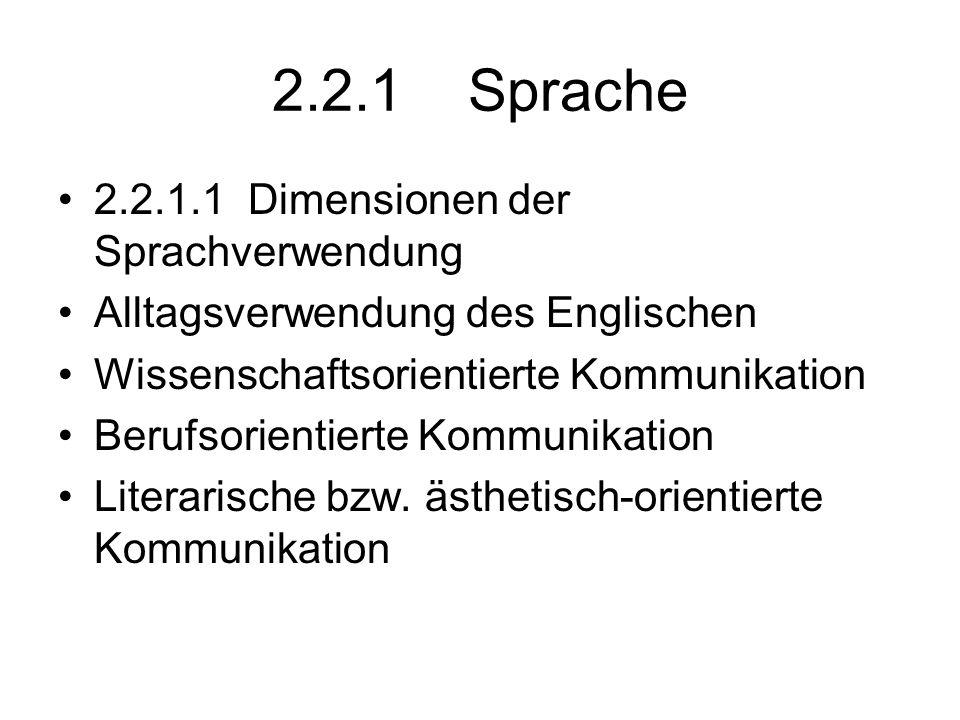 2.2.1 Sprache 2.2.1.1 Dimensionen der Sprachverwendung Alltagsverwendung des Englischen Wissenschaftsorientierte Kommunikation Berufsorientierte Kommu
