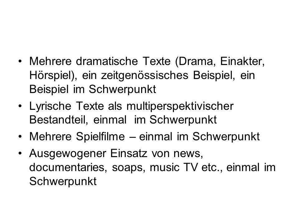 Mehrere dramatische Texte (Drama, Einakter, Hörspiel), ein zeitgenössisches Beispiel, ein Beispiel im Schwerpunkt Lyrische Texte als multiperspektivis