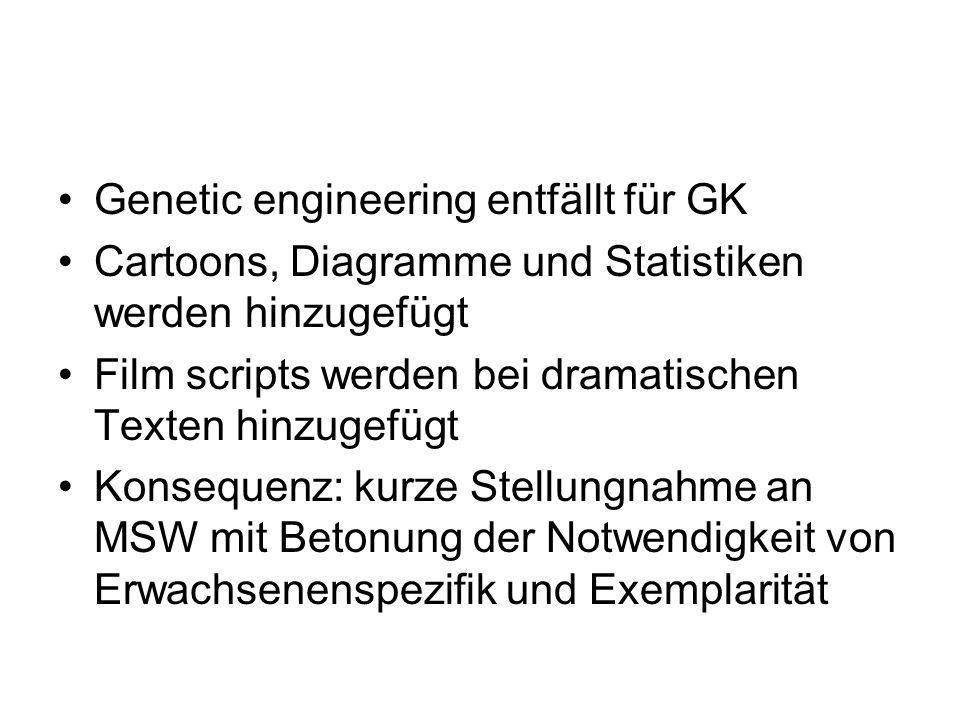 Genetic engineering entfällt für GK Cartoons, Diagramme und Statistiken werden hinzugefügt Film scripts werden bei dramatischen Texten hinzugefügt Kon