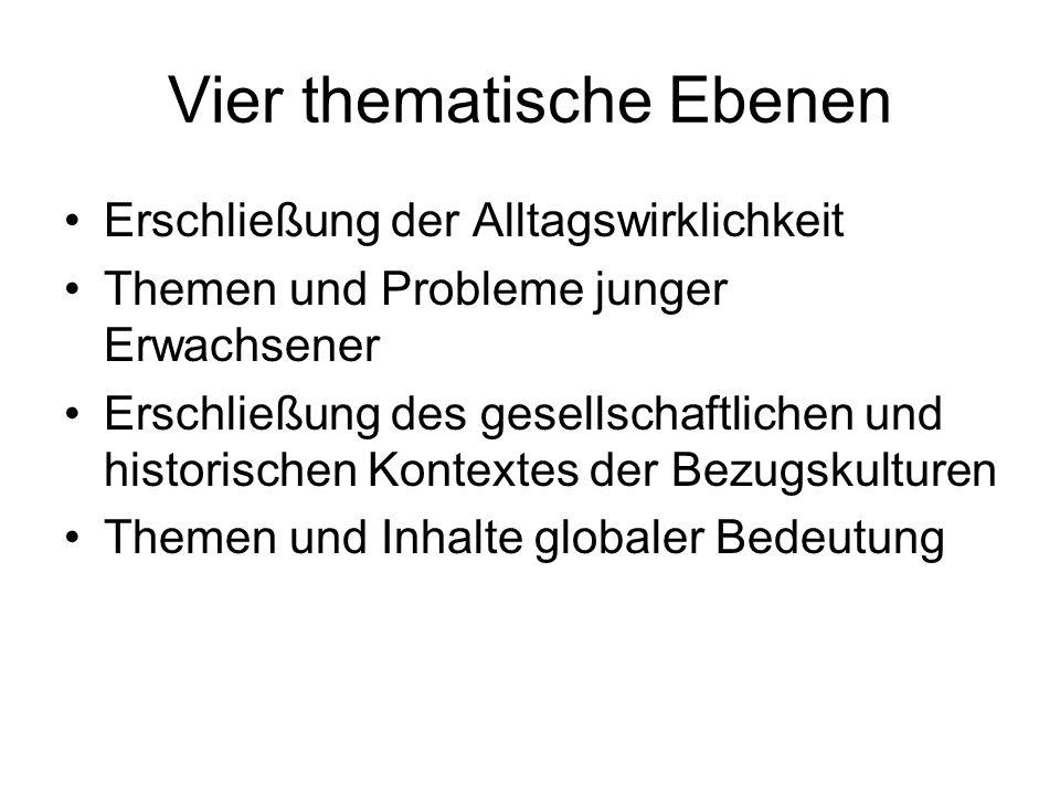 Vier thematische Ebenen Erschließung der Alltagswirklichkeit Themen und Probleme junger Erwachsener Erschließung des gesellschaftlichen und historisch