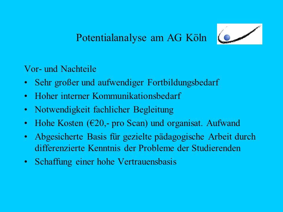 Potentialanalyse am AG Köln Vor- und Nachteile Sehr großer und aufwendiger Fortbildungsbedarf Hoher interner Kommunikationsbedarf Notwendigkeit fachlicher Begleitung Hohe Kosten (20,- pro Scan) und organisat.