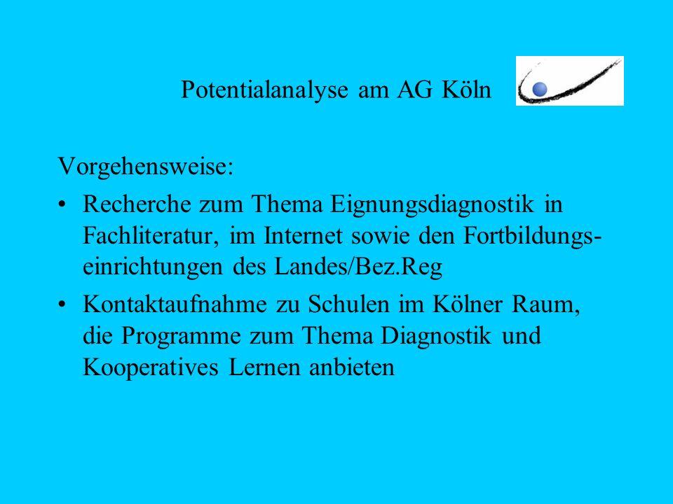 Potentialanalyse am AG Köln Vorgehensweise: Recherche zum Thema Eignungsdiagnostik in Fachliteratur, im Internet sowie den Fortbildungs- einrichtungen