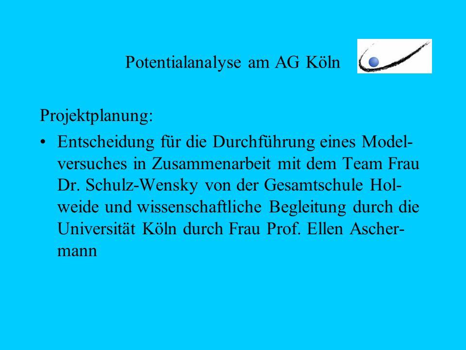 Potentialanalyse am AG Köln Projektplanung: Entscheidung für die Durchführung eines Model- versuches in Zusammenarbeit mit dem Team Frau Dr. Schulz-We