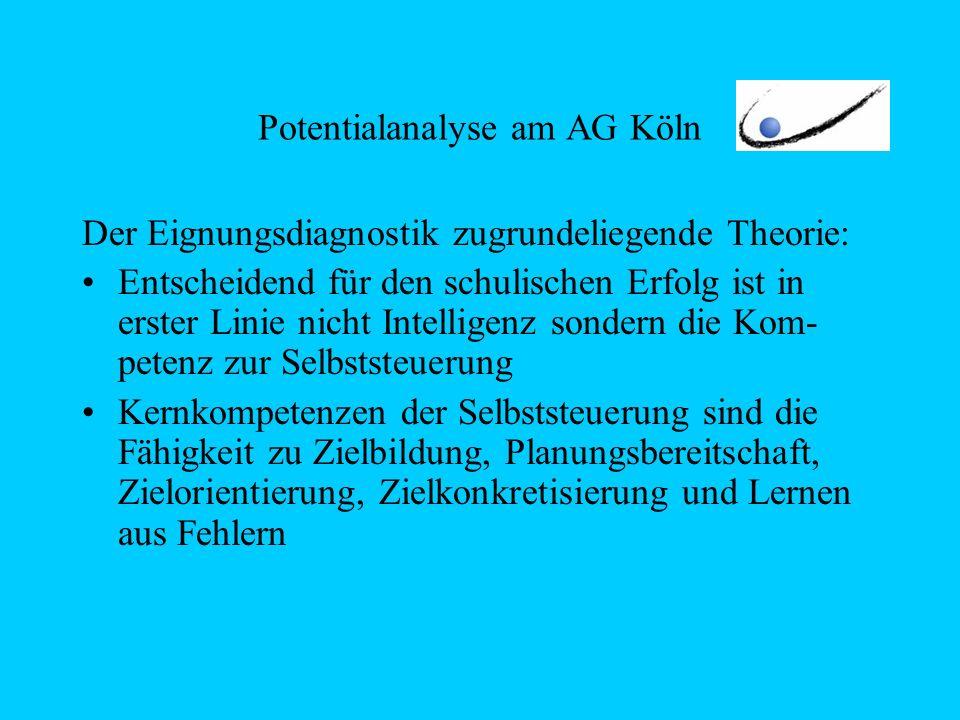 Potentialanalyse am AG Köln Der Eignungsdiagnostik zugrundeliegende Theorie: Entscheidend für den schulischen Erfolg ist in erster Linie nicht Intelligenz sondern die Kom- petenz zur Selbststeuerung Kernkompetenzen der Selbststeuerung sind die Fähigkeit zu Zielbildung, Planungsbereitschaft, Zielorientierung, Zielkonkretisierung und Lernen aus Fehlern
