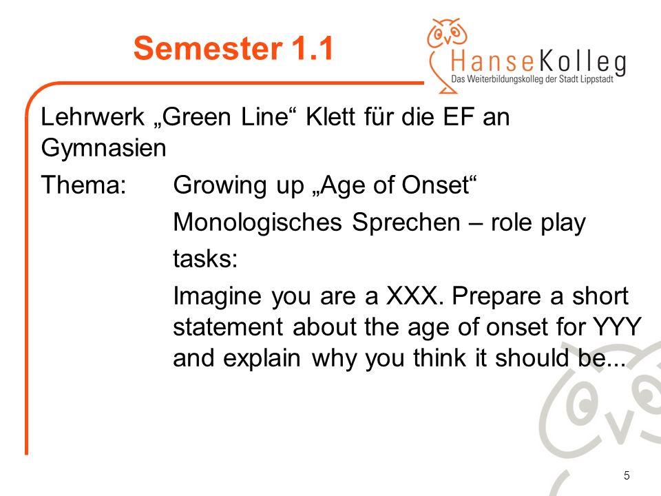 5 Semester 1.1 Lehrwerk Green Line Klett für die EF an Gymnasien Thema: Growing up Age of Onset Monologisches Sprechen – role play tasks: Imagine you