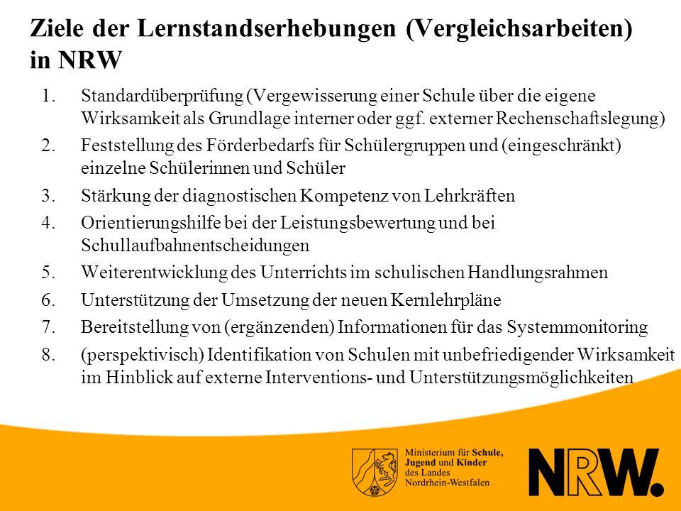 Ziele der Lernstandserhebungen (Vergleichsarbeiten) in NRW 1.Standardüberprüfung (Vergewisserung einer Schule über die eigene Wirksamkeit als Grundlage interner oder ggf.
