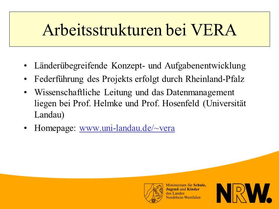 Arbeitsstrukturen bei VERA Länderübegreifende Konzept- und Aufgabenentwicklung Federführung des Projekts erfolgt durch Rheinland-Pfalz Wissenschaftliche Leitung und das Datenmanagement liegen bei Prof.