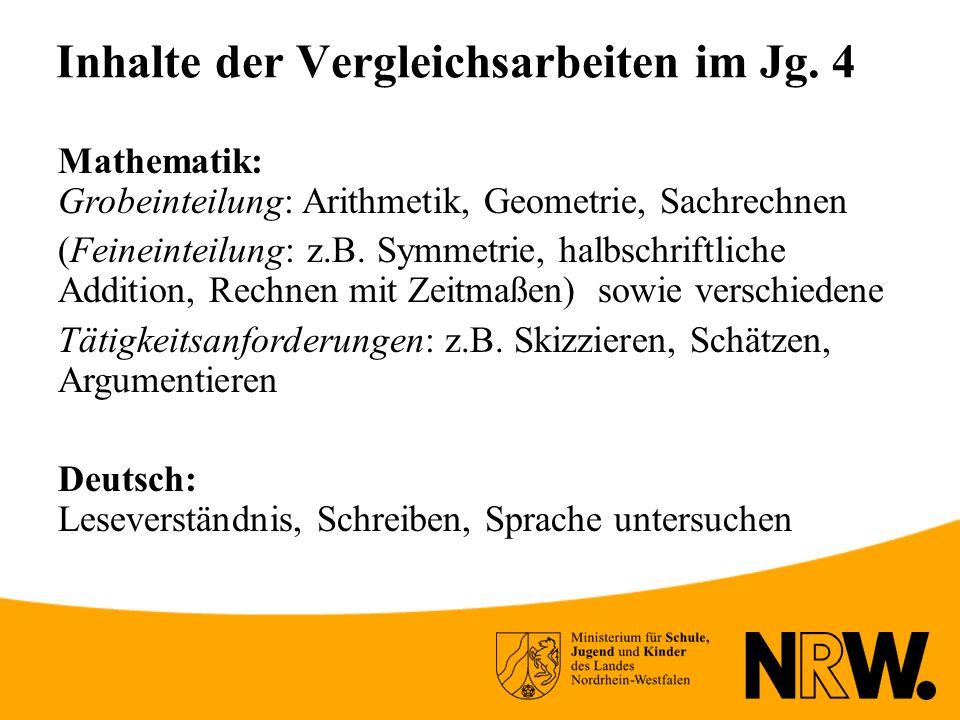 Inhalte der Vergleichsarbeiten im Jg.