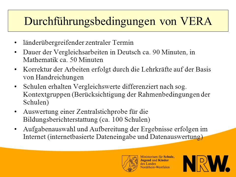 Durchführungsbedingungen von VERA länderübergreifender zentraler Termin Dauer der Vergleichsarbeiten in Deutsch ca.