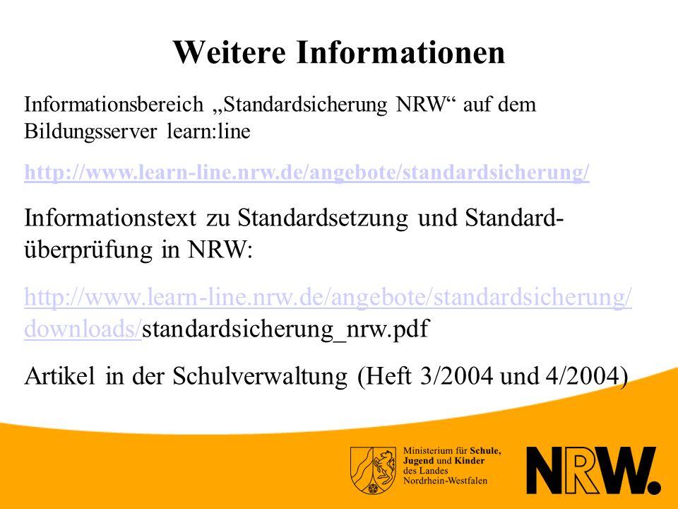 Weitere Informationen Informationsbereich Standardsicherung NRW auf dem Bildungsserver learn:line http://www.learn-line.nrw.de/angebote/standardsicherung/ Informationstext zu Standardsetzung und Standard- überprüfung in NRW: http://www.learn-line.nrw.de/angebote/standardsicherung/ downloads/http://www.learn-line.nrw.de/angebote/standardsicherung/ downloads/standardsicherung_nrw.pdf Artikel in der Schulverwaltung (Heft 3/2004 und 4/2004)
