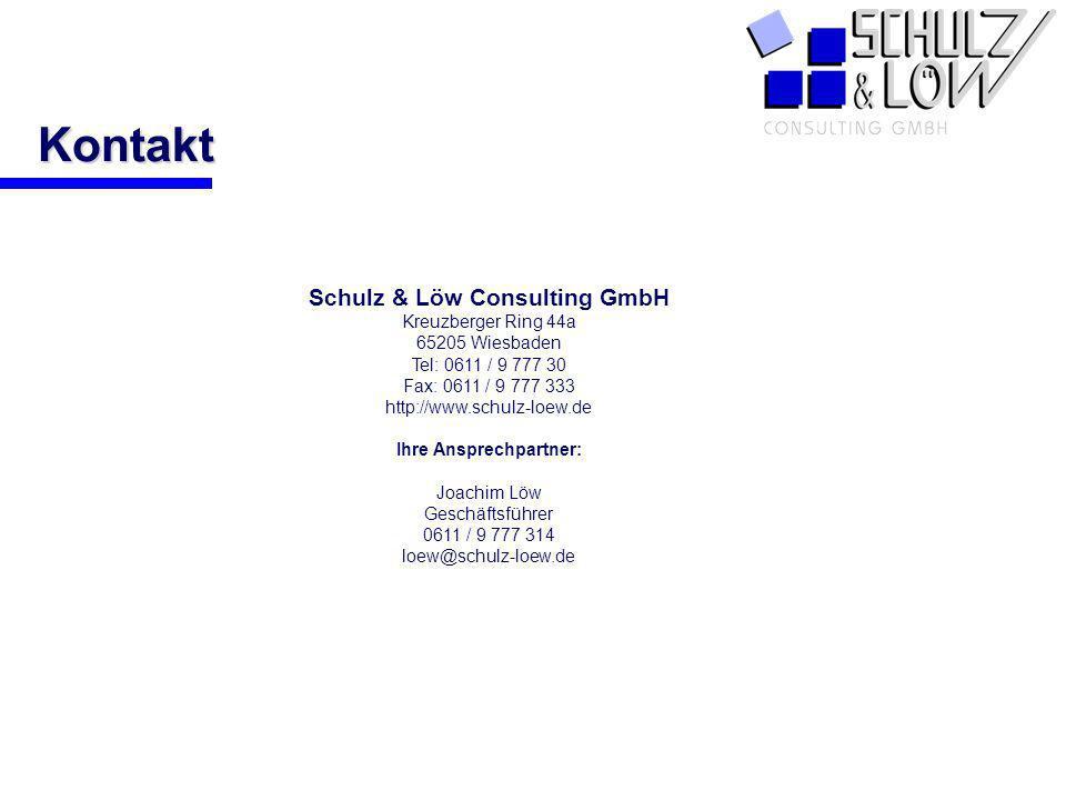 PCS Kontakt Schulz & Löw Consulting GmbH Kreuzberger Ring 44a 65205 Wiesbaden Tel: 0611 / 9 777 30 Fax: 0611 / 9 777 333 http://www.schulz-loew.de Ihr
