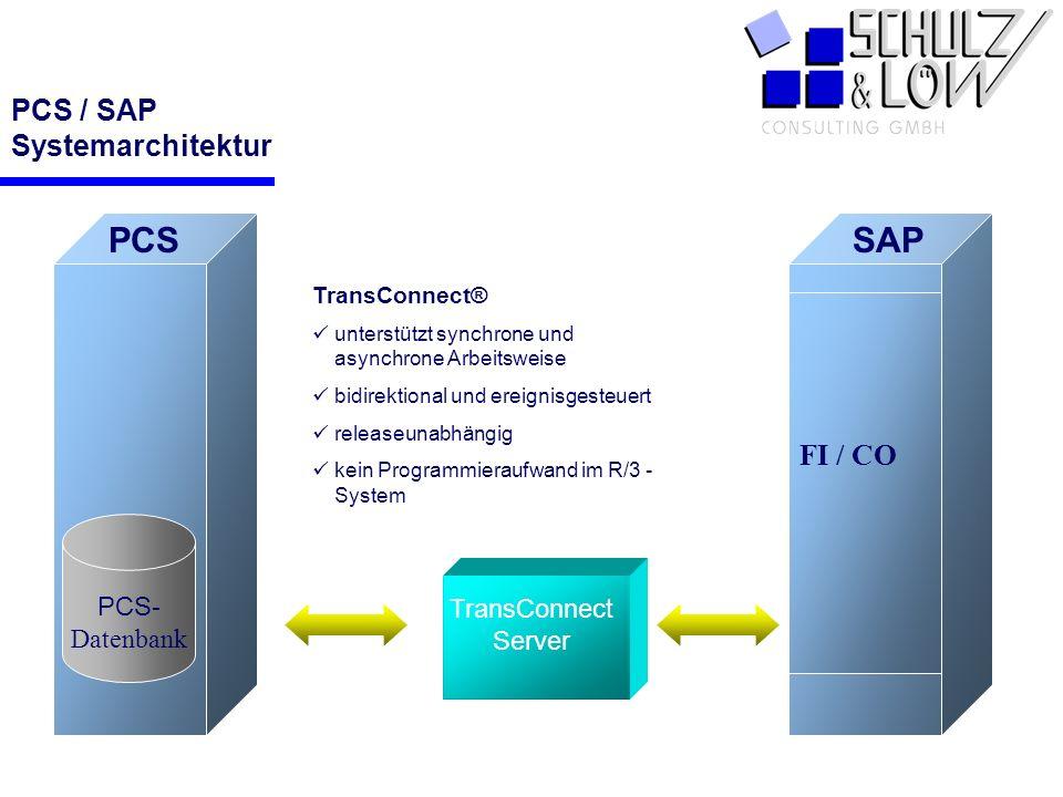 PCS SAP FI / CO PCS - Datenbank TransConnect Server TransConnect® unterstützt synchrone und asynchrone Arbeitsweise bidirektional und ereignisgesteuer