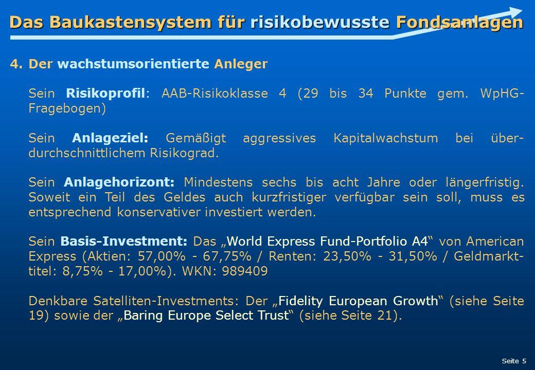 Das Baukastensystem für risikobewusste Fondsanlagen 4.Der wachstumsorientierte Anleger Sein Risikoprofil: AAB-Risikoklasse 4 (29 bis 34 Punkte gem. Wp
