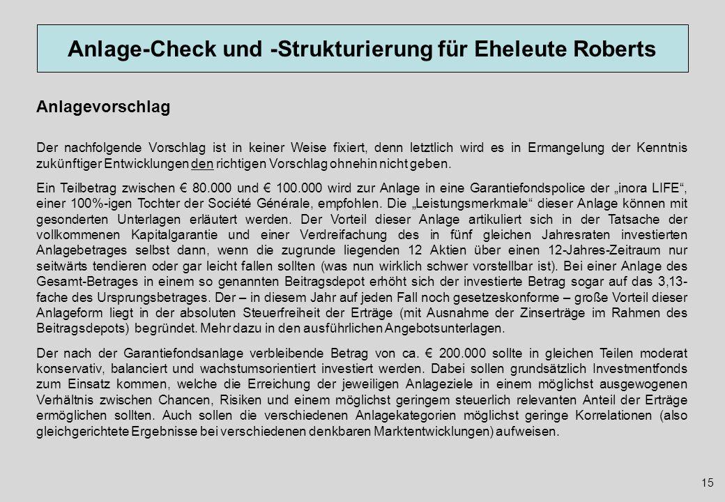 Anlage-Check und -Strukturierung für Eheleute Roberts 15 Anlagevorschlag Der nachfolgende Vorschlag ist in keiner Weise fixiert, denn letztlich wird e