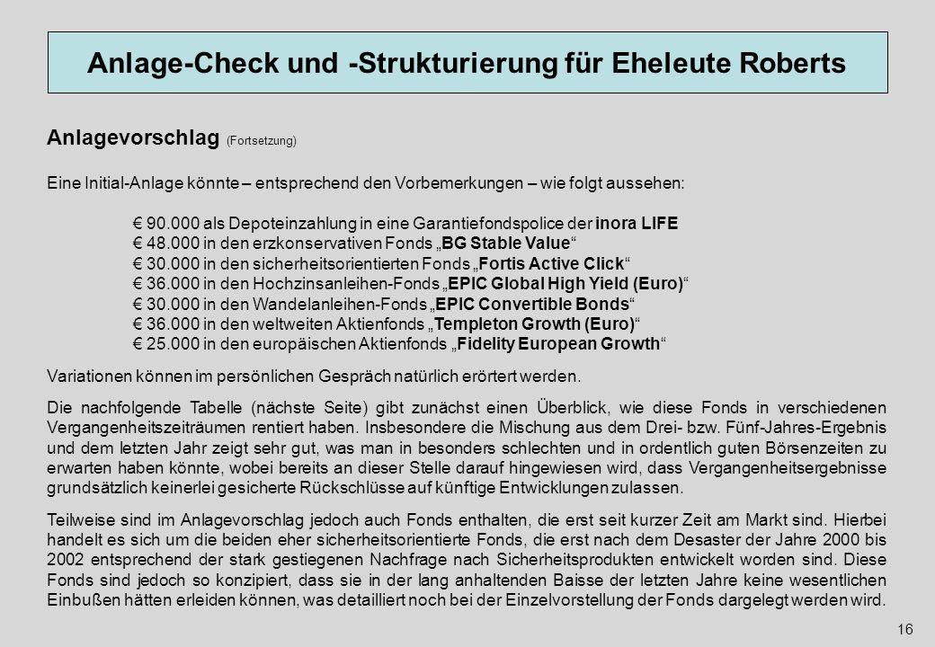 Anlage-Check und -Strukturierung für Eheleute Roberts 16 Anlagevorschlag (Fortsetzung) Eine Initial-Anlage könnte – entsprechend den Vorbemerkungen –