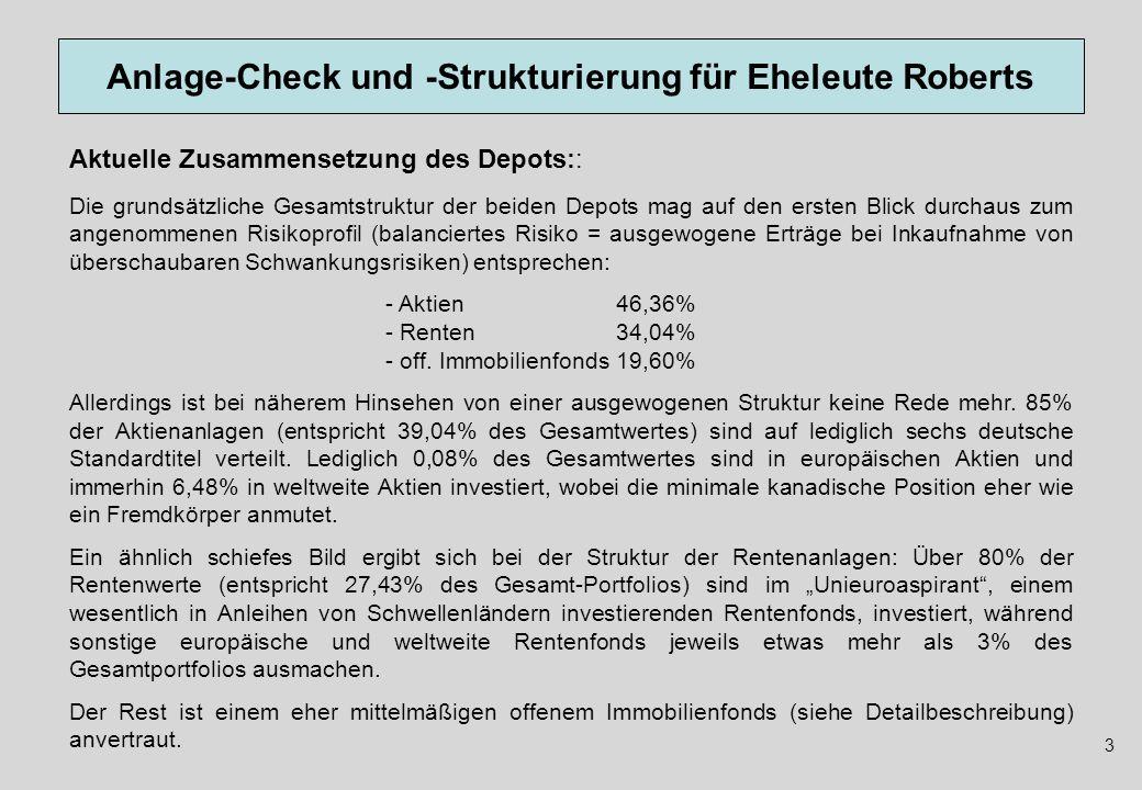 Anlage-Check und -Strukturierung für Eheleute Roberts Die grundsätzliche Gesamtstruktur der beiden Depots mag auf den ersten Blick durchaus zum angeno