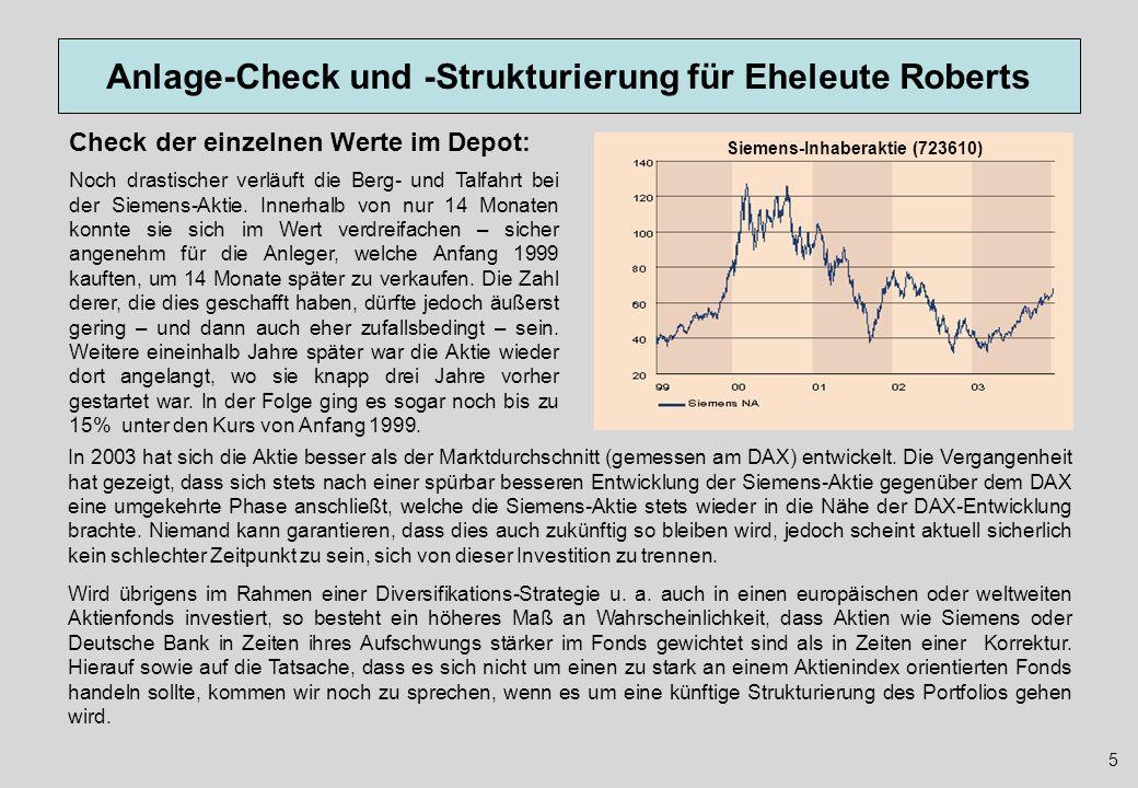 Anlage-Check und -Strukturierung für Eheleute Roberts 26 Abschließende Berechnung Die für die jeweiligen Fonds angesetzten Durchschnitterträge sollen und können keine Prognose zukünftiger Erträge sein, da eine solche Prognose unseriös wäre.