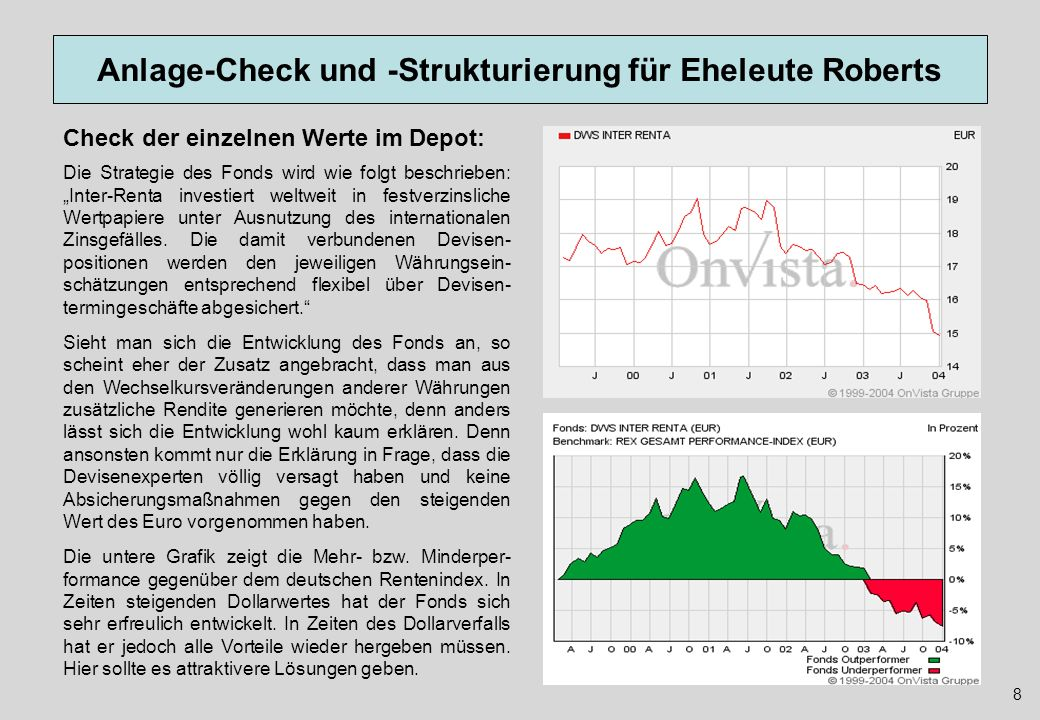 Anlage-Check und -Strukturierung für Eheleute Roberts Wer nun denkt, dass die europäische Rentenfonds- Variante von DWS ein attraktive Alternative zum Inter-Renta sei, der sieht sich angesichts des Fünf- Jahres-Charts eher getäuscht, wobei anzumerken ist, dass im Preis-Chart natürlich die regelmäßigen Ausschüttungen den Kurs immer wieder drücken.