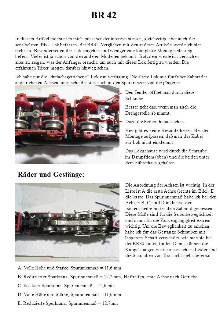 BR 42 In diesem Artikel möchte ich mich mit einer der interessantesten, gleichzeitig aber auch der sensibelsten Trix- Lok befassen, der BR42. Verglich