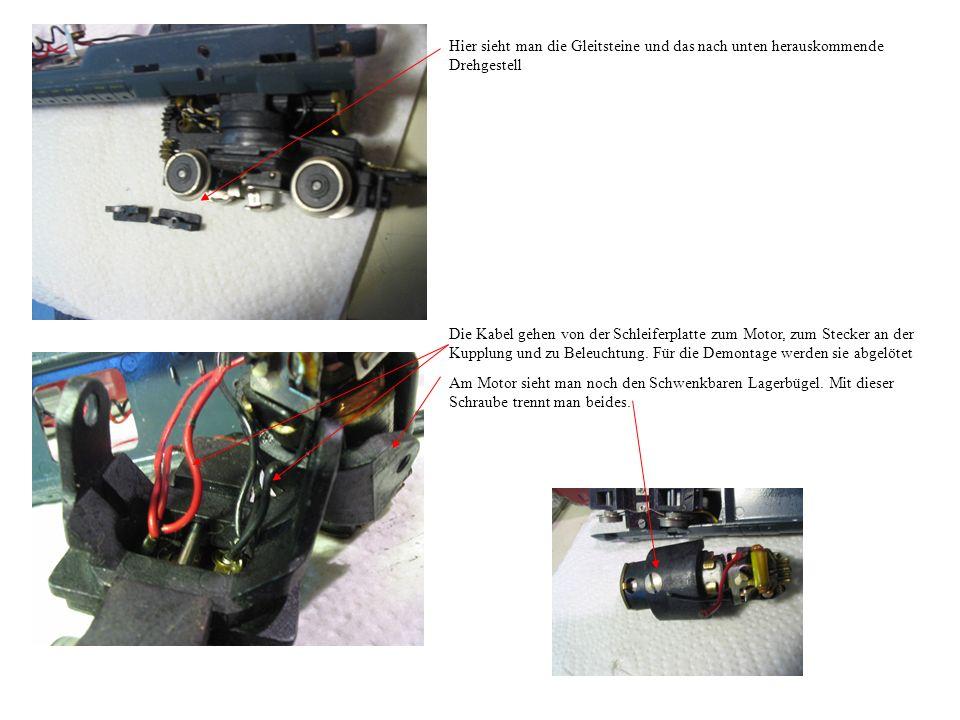 Hier sieht man die Gleitsteine und das nach unten herauskommende Drehgestell Die Kabel gehen von der Schleiferplatte zum Motor, zum Stecker an der Kupplung und zu Beleuchtung.