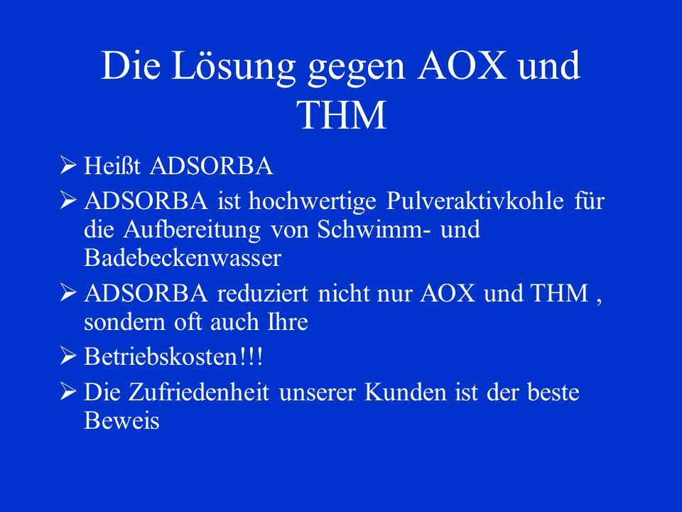 Die Lösung gegen AOX und THM Heißt ADSORBA ADSORBA ist hochwertige Pulveraktivkohle für die Aufbereitung von Schwimm- und Badebeckenwasser ADSORBA red