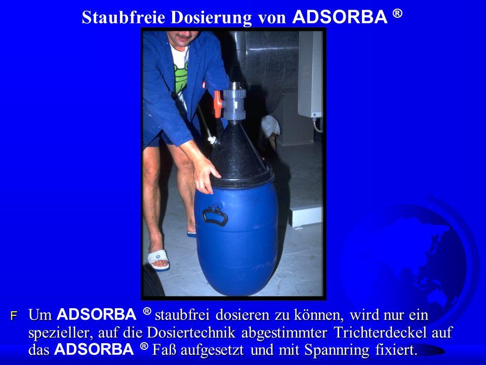 Staubfreie Dosierung von ADSORBA ® Um staubfrei dosieren zu können, wird nur ein spezieller, auf die Dosiertechnik abgestimmter Trichterdeckel auf das