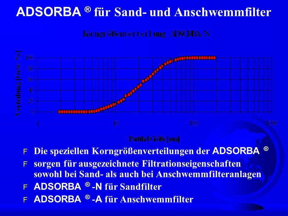 ADSORBA ® für Sand- und Anschwemmfilter Die speziellen Korngrößenverteilungen der ADSORBA ® F sorgen für ausgezeichnete Filtrationseigenschaften sowoh