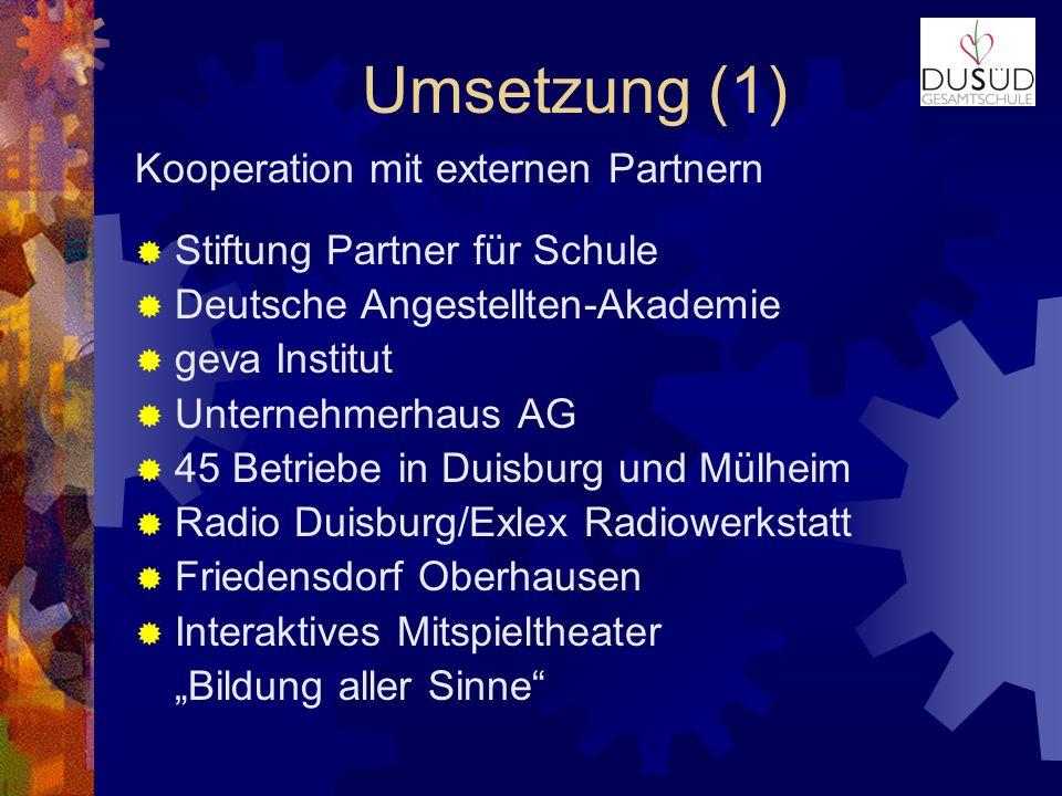 Umsetzung (1) Kooperation mit externen Partnern Stiftung Partner für Schule Deutsche Angestellten-Akademie geva Institut Unternehmerhaus AG 45 Betrieb