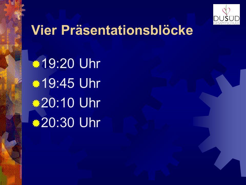 Vier Präsentationsblöcke 19:20 Uhr 19:45 Uhr 20:10 Uhr 20:30 Uhr