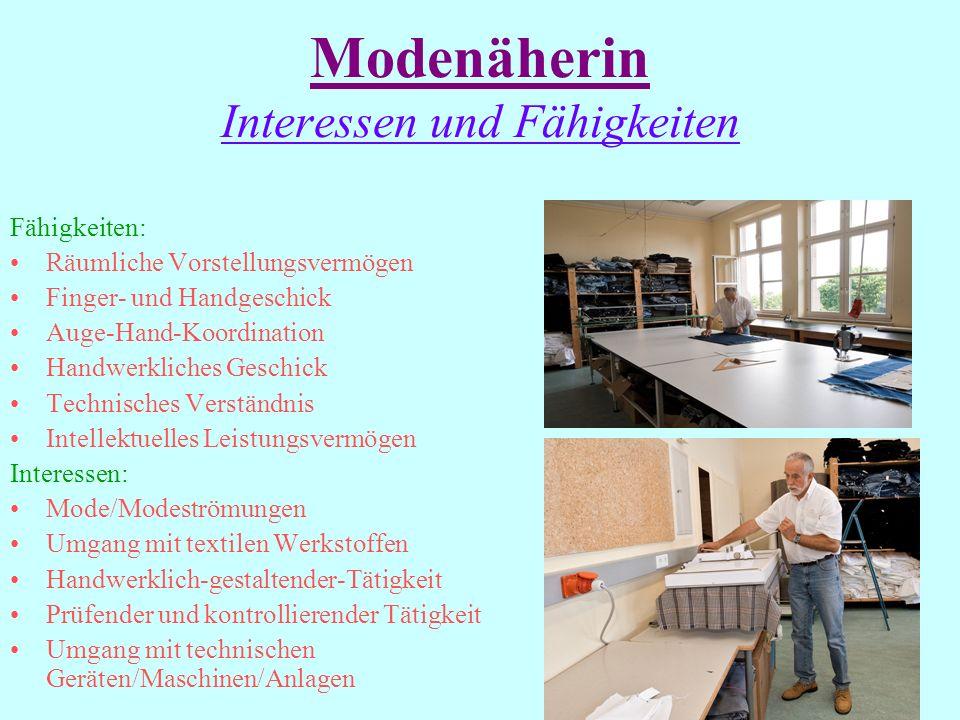 Modenäherin Arbeitsplatz Fabrikhallen großer Bekleidungsunternehmen Musterateliers Schneiderwerkstätten Textilfachhandel