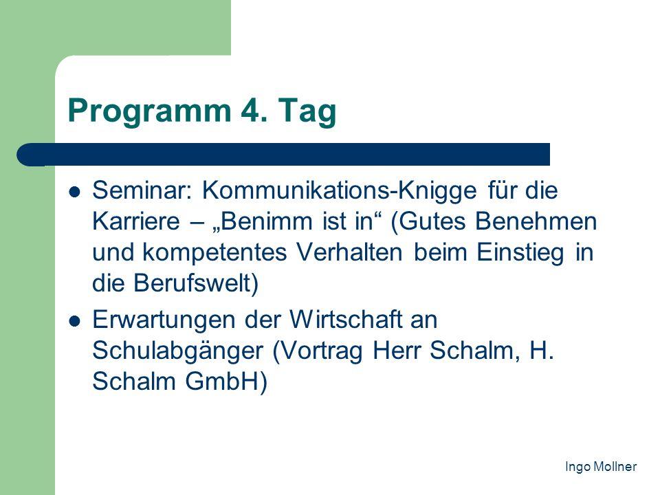 Programm 4. Tag Seminar: Kommunikations-Knigge für die Karriere – Benimm ist in (Gutes Benehmen und kompetentes Verhalten beim Einstieg in die Berufsw