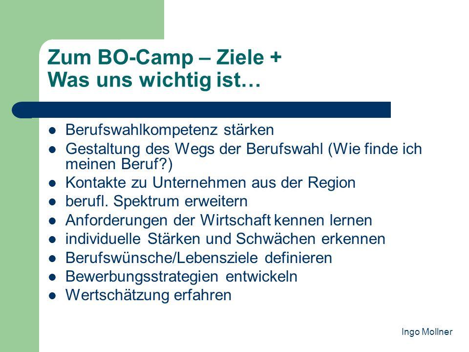Wie wir unsere Ziele im BO-Camp erreichen wollen… Integration in bestehendes BO-Konzept der Schule Kontakt zu Vertretern der regionalen Wirtschaft Kennenlernen versch.