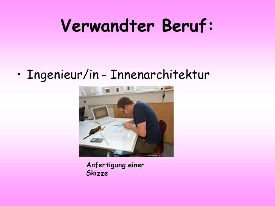 Verwandter Beruf: Ingenieur/in - Innenarchitektur Anfertigung einer Skizze