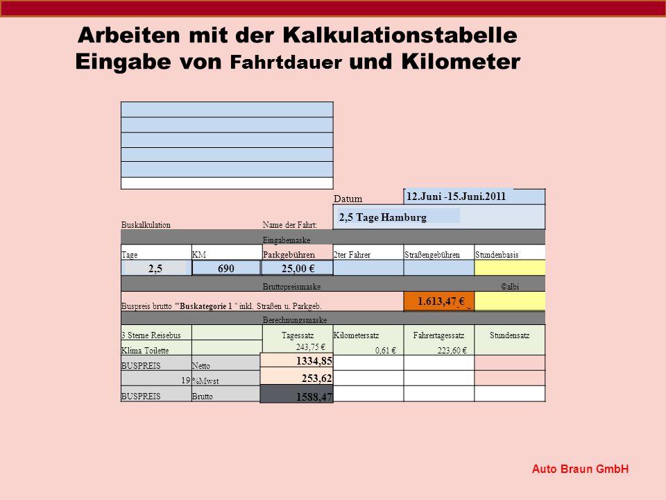 Festlegen und einmaliges Eingeben der Grunddaten für Buskategorie und Kalkulation Datum BuskalkulationName der Fahrt: Eingabemaske TageKM Parkgebühren