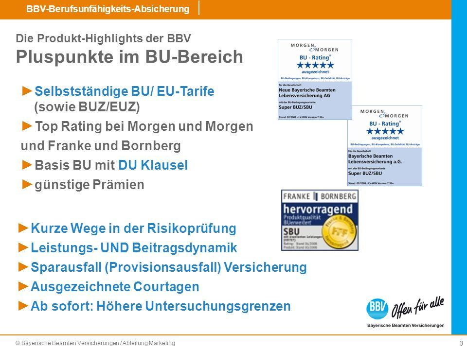 © Bayerische Beamten Versicherungen / Abteilung Marketing BBV-Berufsunfähigkeits-Absicherung 14 Basis-Schutz Dienstunfähigkeits-Klausel für Beamte (DU-Klausel).